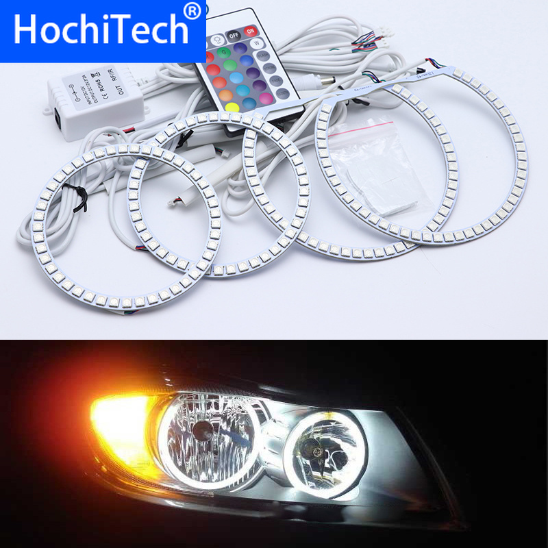 For <font><b>BMW</b></font> 3 Series <font><b>E90</b></font> 2005-2008 Halogen <font><b>headlight</b></font> Multi-color <font><b>Led</b></font> Angel Eyes Kit RGB Halo Rings Daytime Running Light DRL image