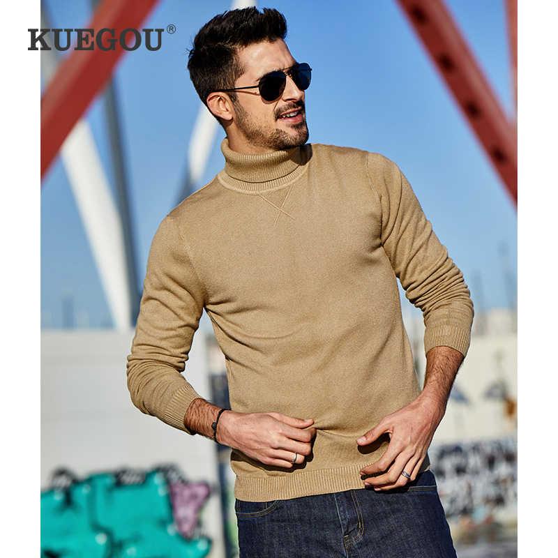 KUEGOU 2020 Frühling Plain Schwarz Rollkragen Pullover Männer Pullover Lässige Jumper Für Männliche Marke Gestrickt Koreanischen Stil Kleidung 89002