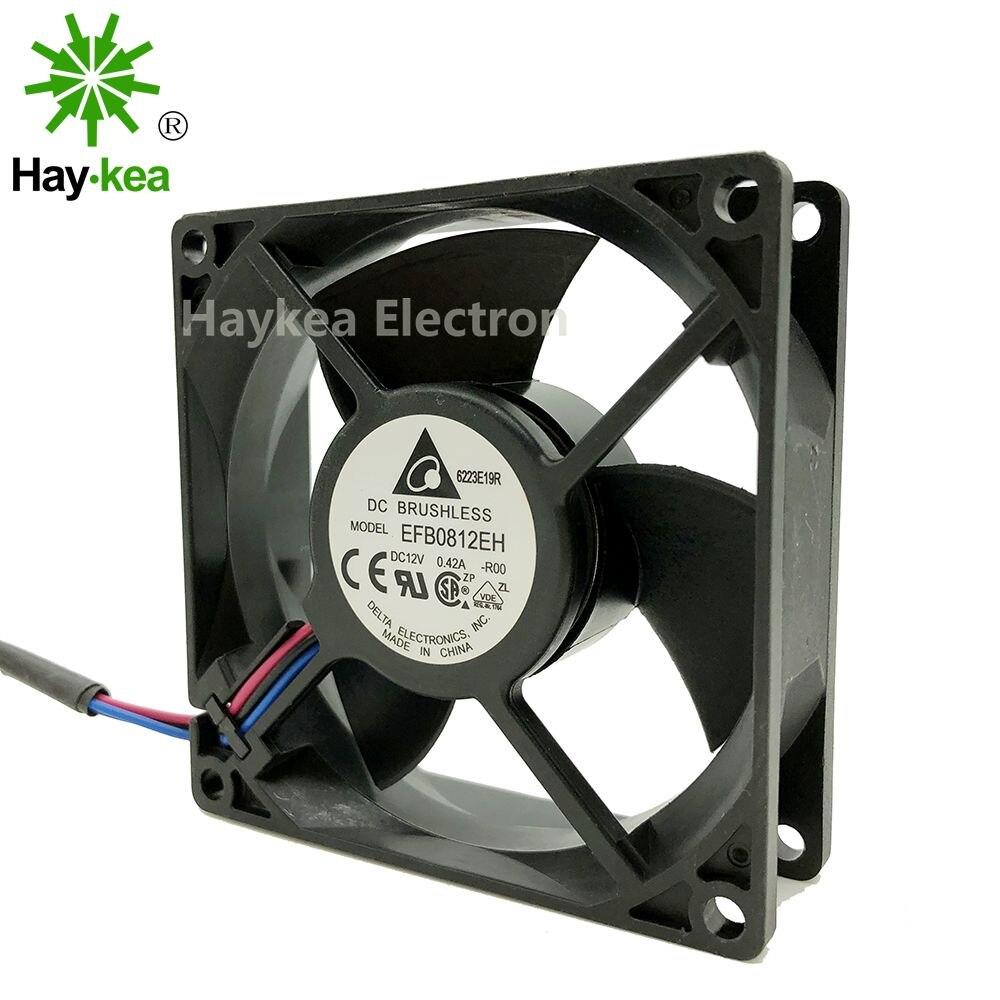 F00 FOO 8025 8CM 80MM DC 12V 0.42A 3-pin case cooling fan Delta EFB0812EH