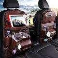 Органайзер из искусственной кожи на спинку сиденья автомобиля, поднос, дорожный органайзер для хранения в автомобиле, сумка-коврик со склад...