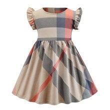 Hot Sale Plaid New Arrival Children's Wear Girls Fashion Dress Cotton Short Sleevless Casual Wear Children's Clothing European