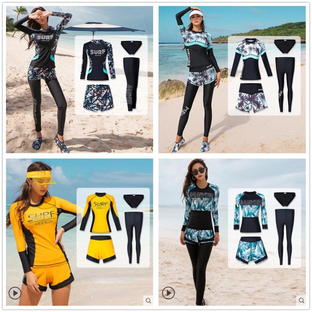 Modest Burkini Muslim Swimwear Womens Full Body Swimsuit 4 Pieces Islamic Beachwear Long Sleeve Bathing Suit Female