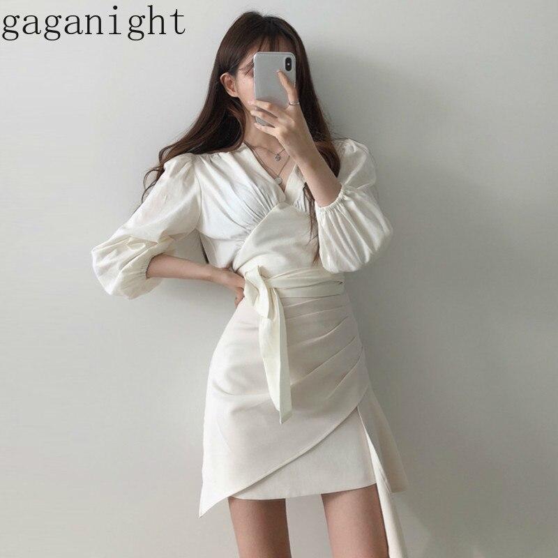 Женский комплект из 2 предметов в Корейском стиле Gaganight, плиссированная рубашка с v образным вырезом и длинными рукавами + Асимметричная юбка трапециевидной формы с завышенной талией, X2693|Юбки|   | АлиЭкспресс