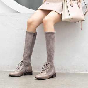 Image 4 - Krazingポット本革パッチワークフロックストレッチブーツ英国のレースアップファッションサイドジップ保温女性はブーツを腿l22