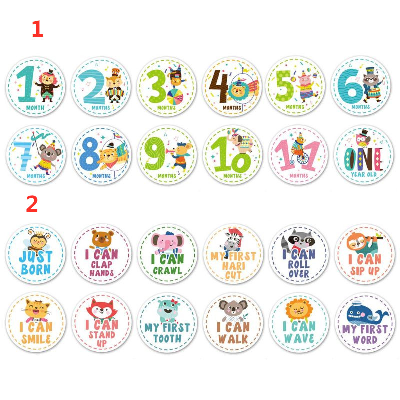 1-12 Months Baby Monthly Milestone Stickers Growth Tracking Stickers Shower Registry Gift Scrapbook Photo Memory Keepsake