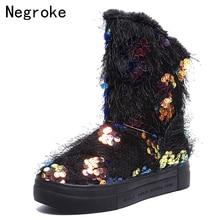 Female Snow Boots Winter Boots Women Flat Platform 2019 Shoes Botas Mujer Sequins Plush Botas Femininas de inverno цена