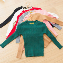 Детская одежда с круглым вырезом; свитер в рубчик для маленьких девочек; сезон осень-зима; мягкие модные свитера с длинными рукавами для маленьких мальчиков