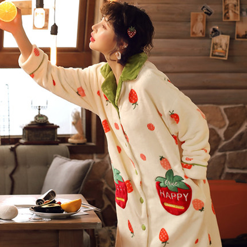 Autumn And Winter Pajamas, Coral Velvet, Thickened Strawberry Nightdress, Bathrobe, Long Pajamas, Flannel Home Clothes.
