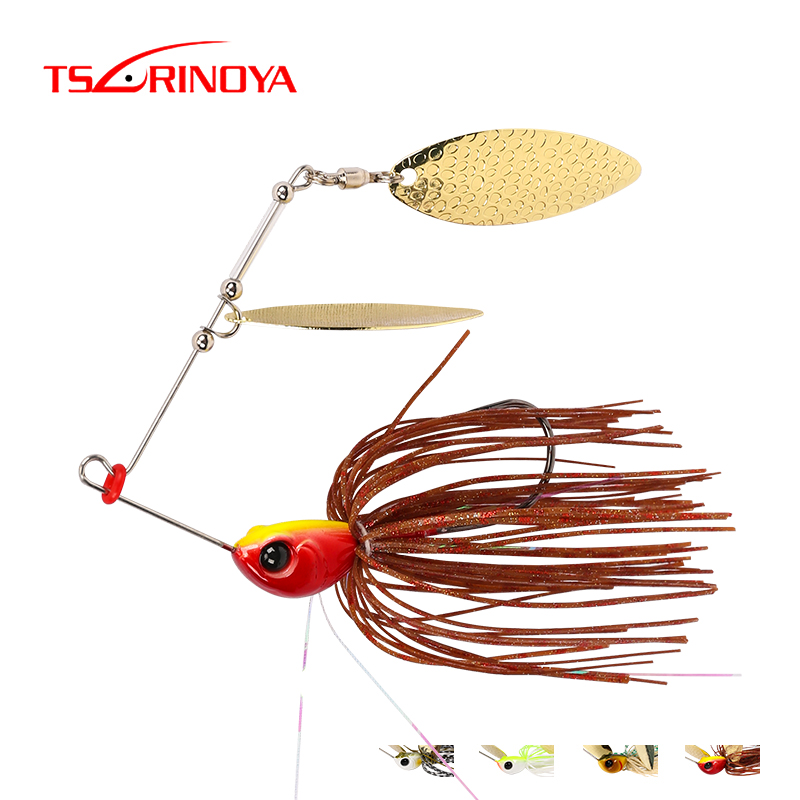 TSURINOYA 4 Pieces Spinner Bait Head Weight 7g/10g Artificial Hard Fishing Lure Blades Hooks Metal Spoons with Rotate Sequins