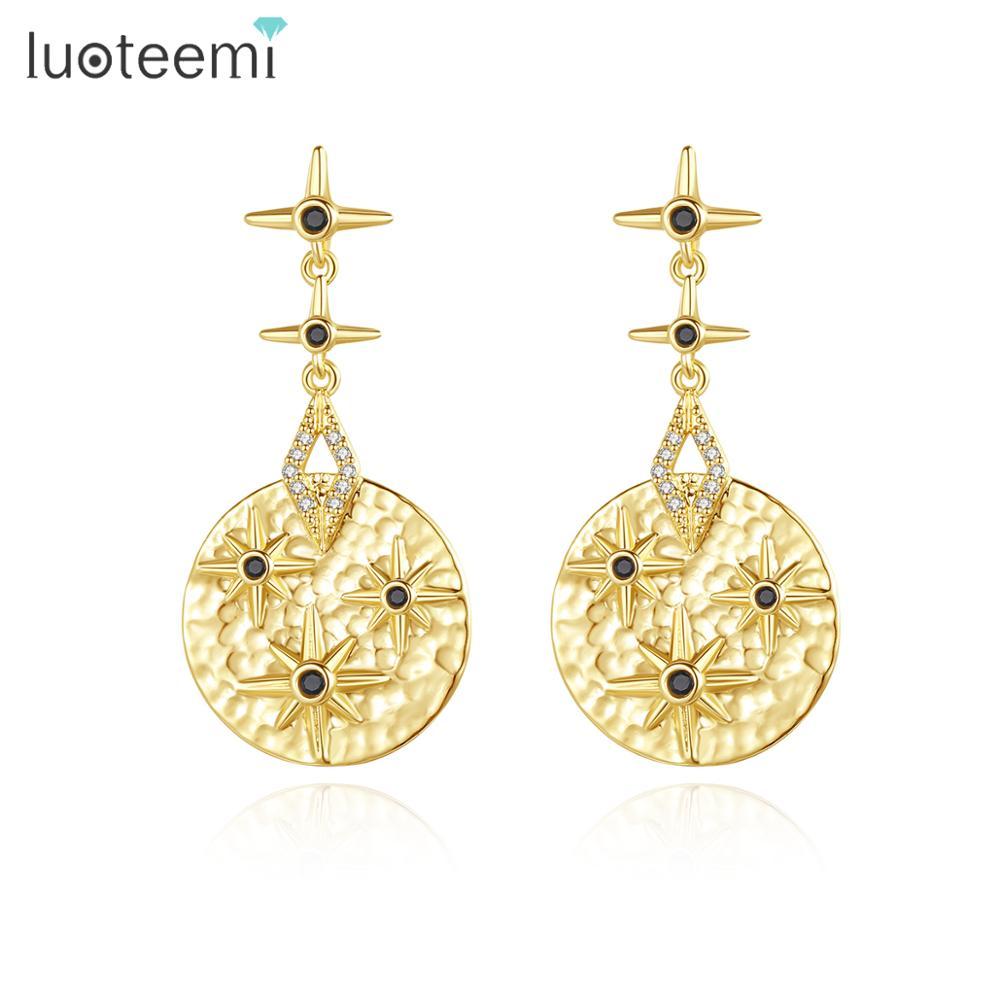 Китайские лютовые серьги-капли LUOTEEMI для музыкальных инструментов для женщин, сияющие звезды, Черный CZ, круглые модные ювелирные изделия, се...