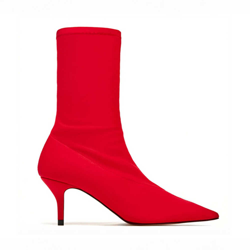DORATASIA Yeni INS Sonbahar Moda 35-42 bayanlar eklemek kürk streç Çorap Patik parti yarım çizmeler kadınlar 2019 topuklu akşam ayakkabı kadın