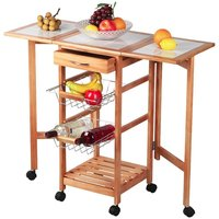Wood Foldable & Expansible Kitchen Rolling Cart for Food Storage & Folding Kitchen Island with Trolley Wheels & Drawers & Shelf