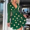 Женское кружевное мини-платье в горошек, повседневное ТРАПЕЦИЕВИДНОЕ ПЛАТЬЕ С V-образным вырезом и длинными рукавами-фонариками, весна 2021