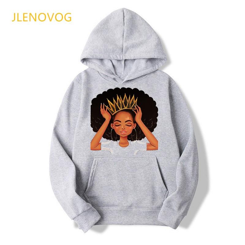 Africano americano nero ragazze magia di stampa felpe con cappuccio grigio delle donne autunno inverno vestiti melanina poppin di grandi dimensioni con cappuccio swearshirt top