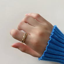 French high quality fashion simple personality light luxury sterling silver 925 women's gold bamboo knot opening ring jewelry
