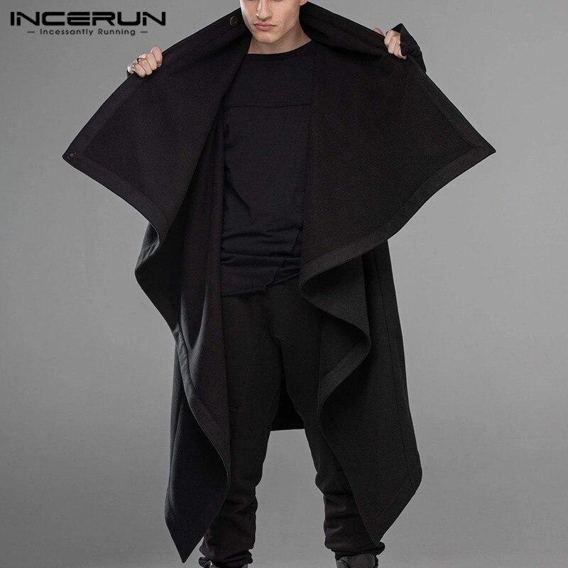 INCERUN Fashion Mens Cloak Coats Turtleneck Streetwear Long Sleeve Plain Men Cape Outerwear Punk Style Irregular Jackets S-5XL