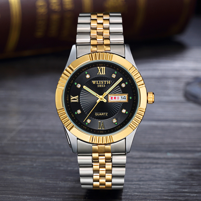 2020 Business Model Design Stainless Steel Golden Couple Watch Business Men Women Male Female Water Resistant Quartz Wrist Watch