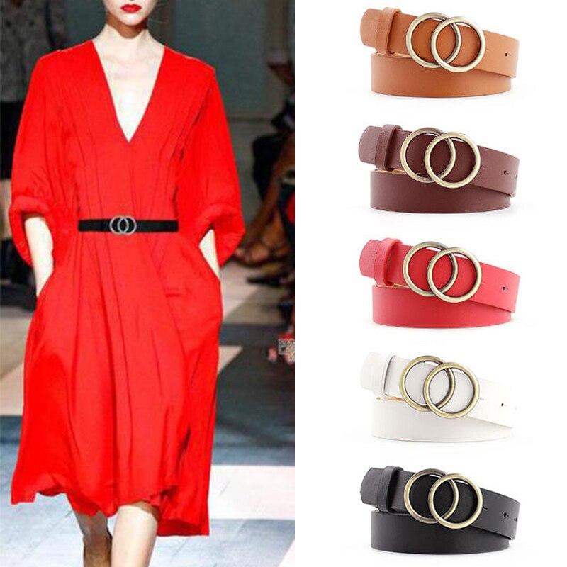 Soft Faux Leather Single/Double Ring Buckle Belt Vintage Decorative Casual Tighten Lightweight Long Women Belt Fashion Waistband|Men