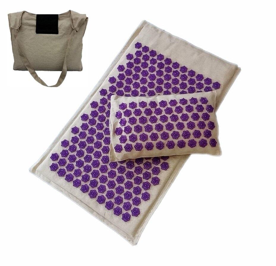 Tapis d'acupression oreiller pour le soulagement des maux de dos coussin d'acupuncture Massage Lotus Spike tapis avec sac de transport