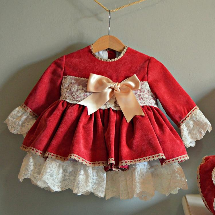 Automne et hiver noël rouge princesse robe flanelle à manches longues robe printemps Festival dentelle filles robe