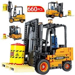 City Engineering Mechanical Crane For Technic Car Forklift Truck Road Roller Vehicle Building Blocks Toys for Children