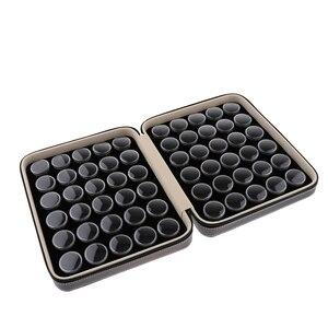 Image 4 - Круглый отдельный пластиковый мини органайзер с 60 сетками, ящик для хранения с черным чехлом из искусственной кожи, чехол для ювелирных изделий