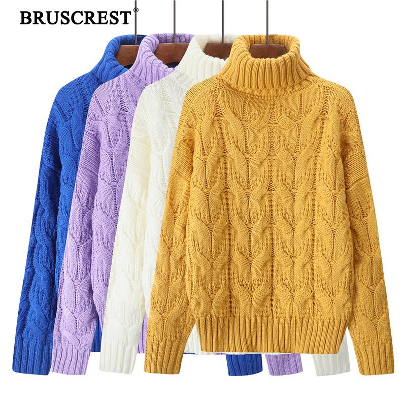 Winter 2019 Turtleneck Sweater Women Knitted Korean Loose Pullover Sweater Ladies Warm Chunky Vintage Sweaters Winter Top