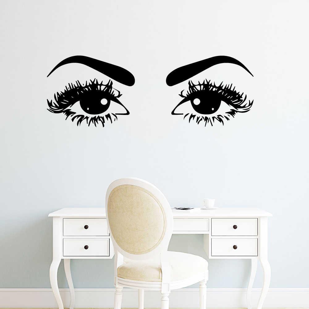 Art Eyelash Eye Wood Wall Sticker Decal Girl Bedroom Room Decor Beauty Salon