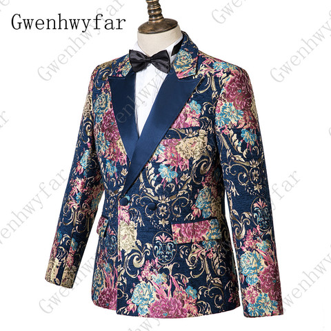 Gwenhwyfar Navy Blue Peaked Lapel 3 Pieces Flower Suit Mens Tuxedo Floral Wedding Prom Suits Best Man Blazer With Pants Vest Lahore