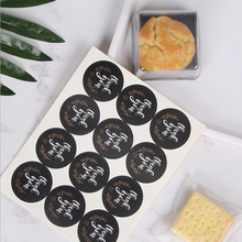 120pcs/lot Black Round White Thank you Kraft Paper Seal Sticker packaging label Supplies