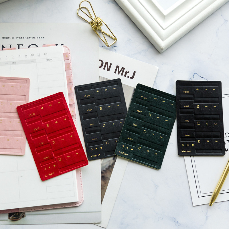 Japanese Vintage Color Index Tags Bookmark Journal Stickers Faux Leather Student File Key Label Sticker Office & School Supplies