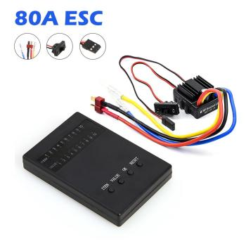 New 1:10 1/8 WP Crawler Brush Brushed 80A ESC Waterproof Electronic Speed Controller With Programing Card for 1/10 1/8 RC Car rocket 45a 60a 80a 120a 150a esc brushless senseless speed controller with program card for 1 8 1 10 1 12 1 20 rc car
