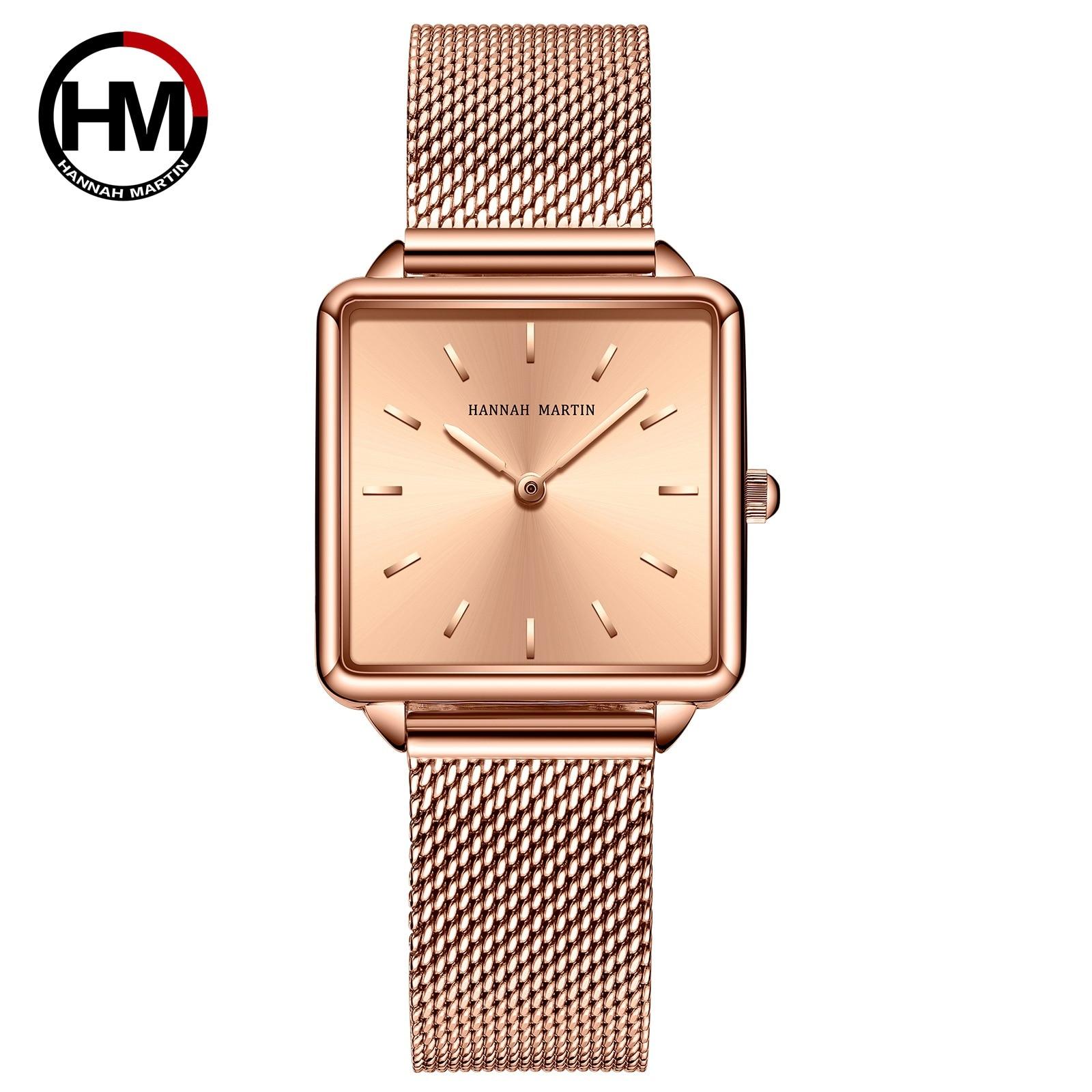 Hannah Martin Japan Movement Women Rose Gold Watches Simple Fashion Casual Watch Luxury Ladies Square Watch Relogio Feminino