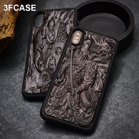 Luxury 3D Carved Wood XR Case For iPhone 7 Case High End Ebony + TPU Frame Cover Coque For iPhone 6 6s 7 8 Plus X Xs Max XR Case