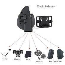 Glock-funda para pistola Glock táctico, cinturón de mano derecha/izquierda, adaptador de cartuchera, 17, 19, 22, 23, 31, 32 W/ Mag