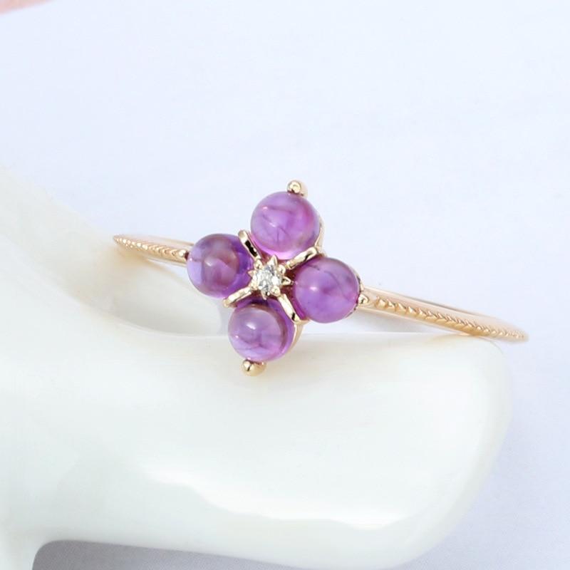 LAMOON 925 Sterling Silver Ring For Women Mini Amethyst Small Grape Shape Gemstone 14k Gold Plated Fine Jewelry LMRI131