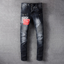 Fashion Streetwear Men Jeans Spliced Patch Designer High Quality Black Slim Fit Hip Hop Jeans Men Cargo Pants Biker Jeans Homme patch design zip embellished biker jeans