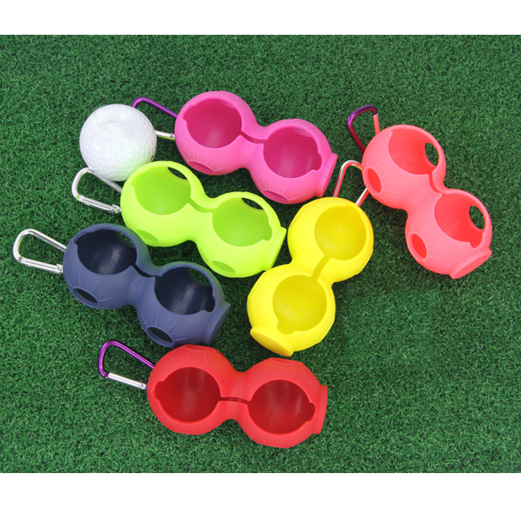 Golf Ball Silicone Sleeve Protective Cover Bag Holder With Carabiner For 46mm Balls Golf Accessories Easy To Carry Double Holes