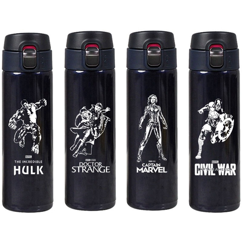 The Avenger Super Hero Stainless Steel Thermos Cup Iron Man Spider-Man Thermal Bottle Water Insulated Tumbler Mug