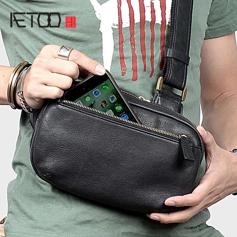 AETOO Men's Chest Bag, Cowhide Slant Bag, Leather Men's Casual Shoulder Bag, Top Leather Small Bag
