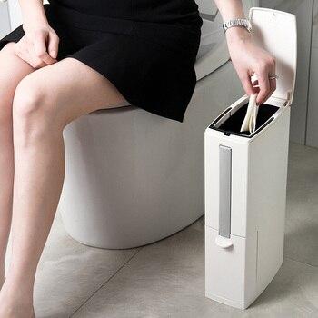 Cubo de basura estrecho Juego de cepillos de baño cubo de basura de plástico de baño cubo de basura de cocina cubo de basura herramientas de limpieza del hogar