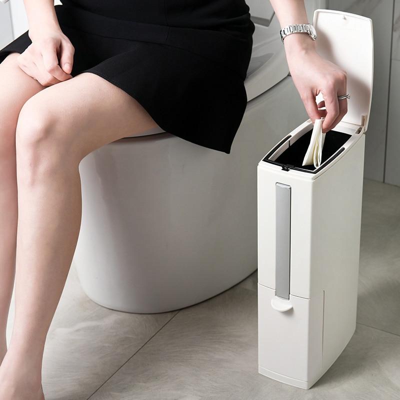 Cubo de basura estrecho para baño, cubo de basura de plástico, herramientas de limpieza del hogar