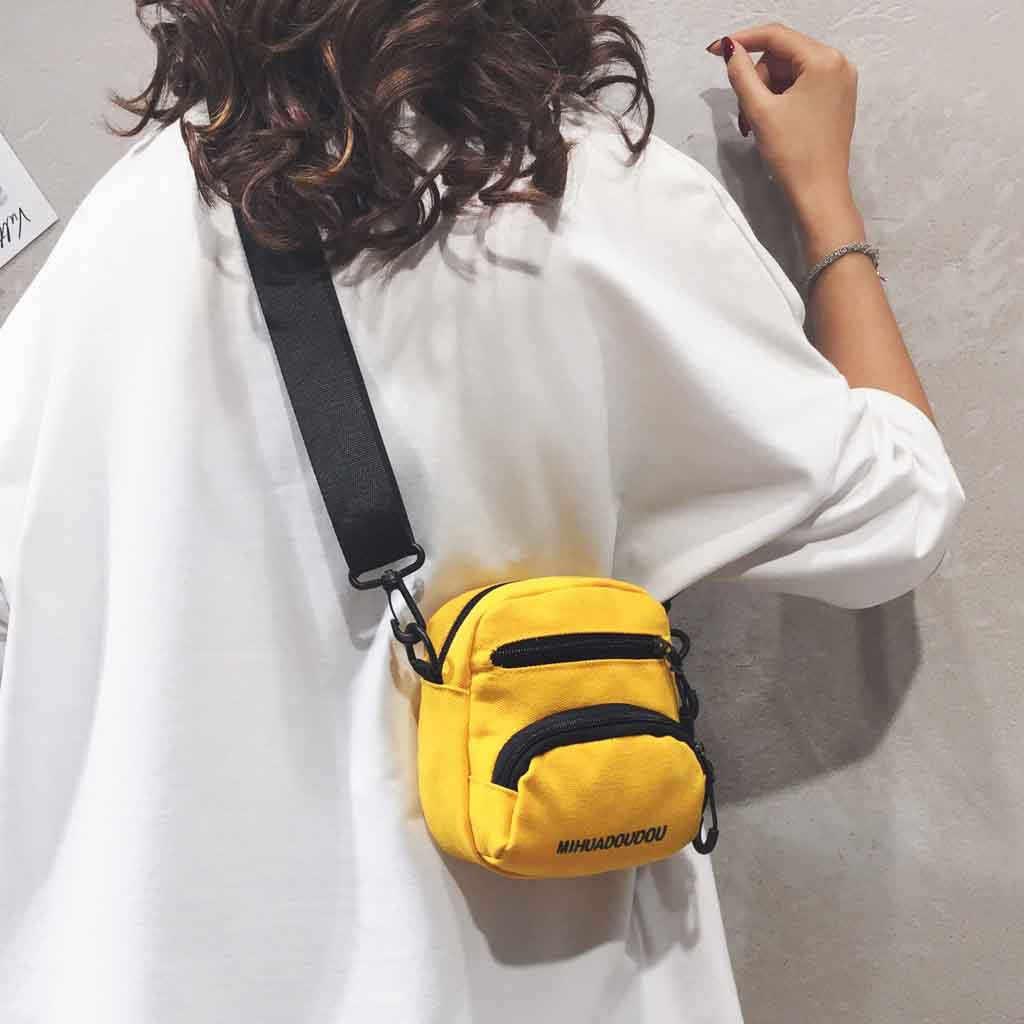 女性のバッグ 2019 ショルダーバッグ原宿スタイルカジュアル無地古典的な女性のシンプルな小さなバッグジッパー黄色ボルサ feminina