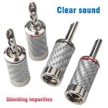 8pcs Black / White carbon fiber pure copper rhodium plated banana plug with teeth hifi audio speaker cable plug