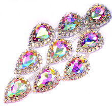 1pc 5.6*10.6 centimetri di Cristallo AB Sew On Strass Applique Flatback Spilla Teardrop di Vetro Strass per Abiti FAI DA TE decorazione B1274(China)
