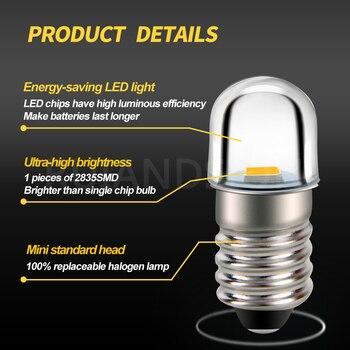 4x E10 3V 4.5V 6V 12V Warm White Minature 2835LED MES Upgrade Bulb Lamp Replacement for Torch Flashlight Headlight Motor Bicycle