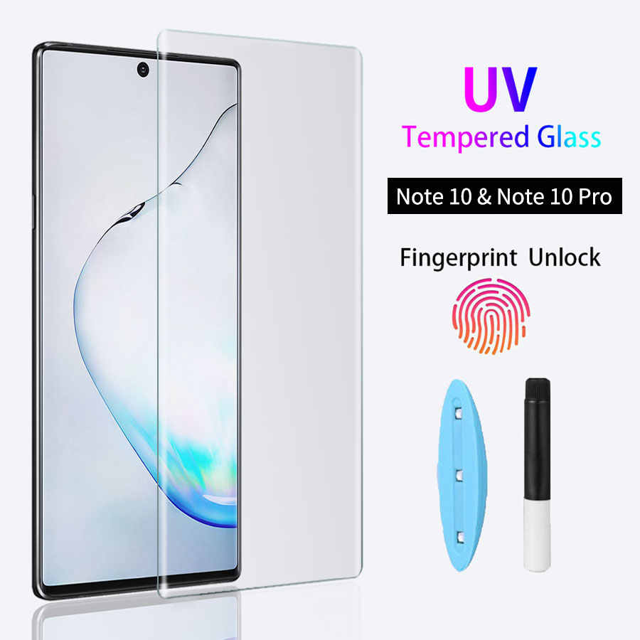 UV Tempered Glass For Samsung Note 10 Plus 9 8 Glass Liquid Glue Screen Protector For Samsung Galaxy S10 Plus S10e S9 8 Glass