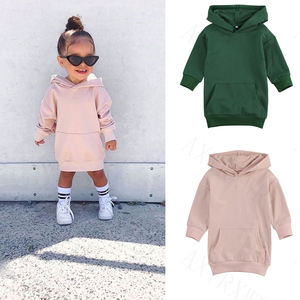 Infant Kids Baby Girl Long Sleeve Sweater Dress Solid Color Hooded Pullover Dress Winter Warm Top for Children 1-5Years