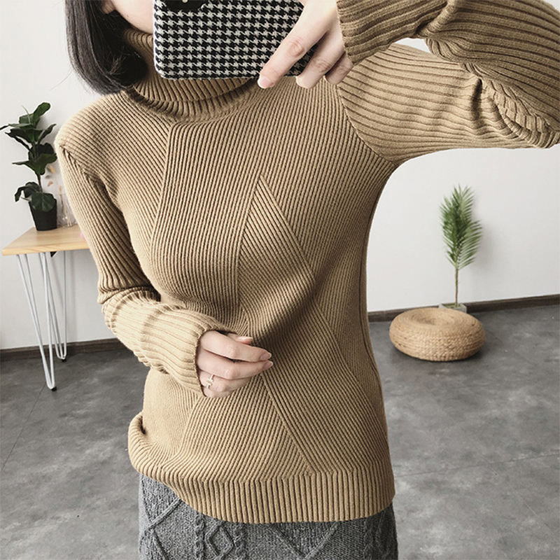 DeRuiLaDy Fall Winter Women Knitted Thick Turtleneck Sweater Pullover Long Sleeve Casual Warm Basic Sweaters Womens Jumpers Top