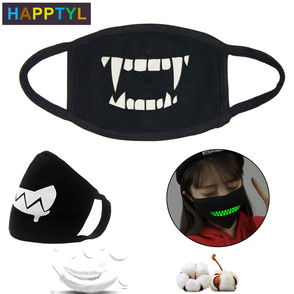 HAPPTYL 1Pcs Luminous Unisex Mouth Mask For Kids Teens Men Women Lovers, Cotton Anti-Dust Windproof Motorcycle Face Masks
